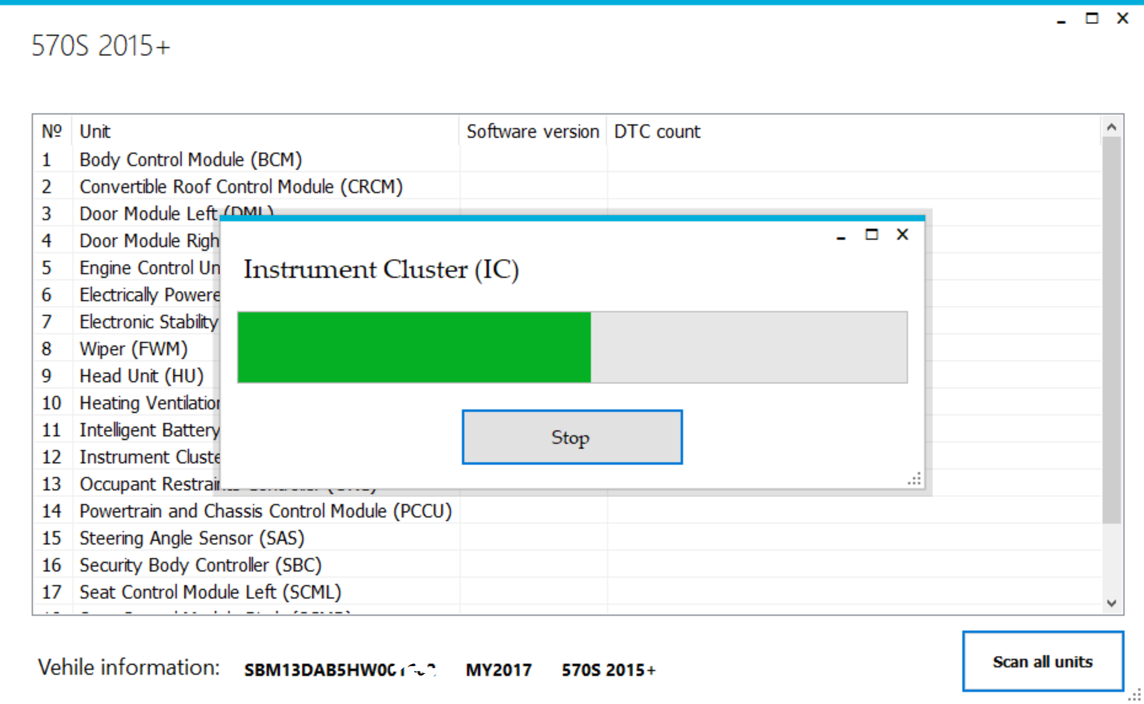 Scan the available modules in the vehicle and clear all DTCs